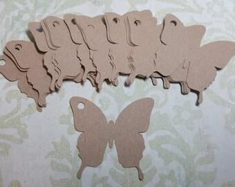 Die Cut Butterfly tags/labels. Recycled Kraft Cardstock.   #U-21