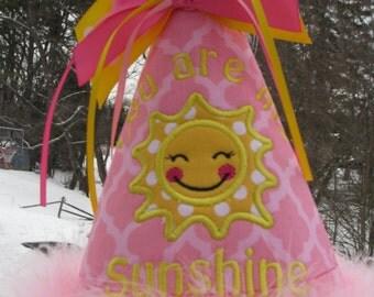 you are my sunshine  birthday hat, 1st birthday hat, Party hat