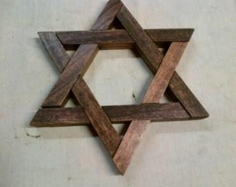 Star Of David - Magen David 6 Inch Wooden Poplar