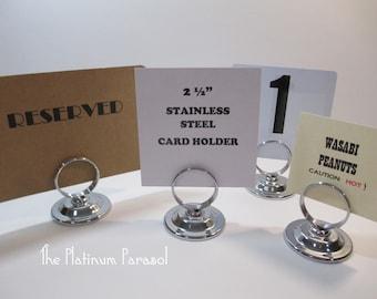 Silver Table Number Stand, Silver Table Number Holder, 2 1/2 inch, Sign Stand, Card Holder, Menu Holder, Wedding Card Holder