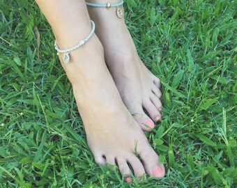 Georgi - QTY 1 gold leather anklet