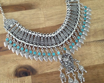 Isabelle - silver & turqouise turkish statement necklace