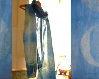 Moon phases scarf, natural indigo and woad, long blue wrap, organic cotton, hand dyed blue with plants, supernatural plants