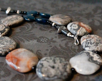 Jewellery, Statement necklace, Bold Gray necklace, Unique jasper necklace, grey blue necklace, Gift For Her, Large Stone Necklace, Big stone