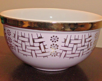 Vintage Hall's Superior Quality Pink and Gold Bowl