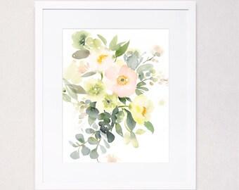 Subtle Poppies and Hellebores Bouquet Watercolor Art Print