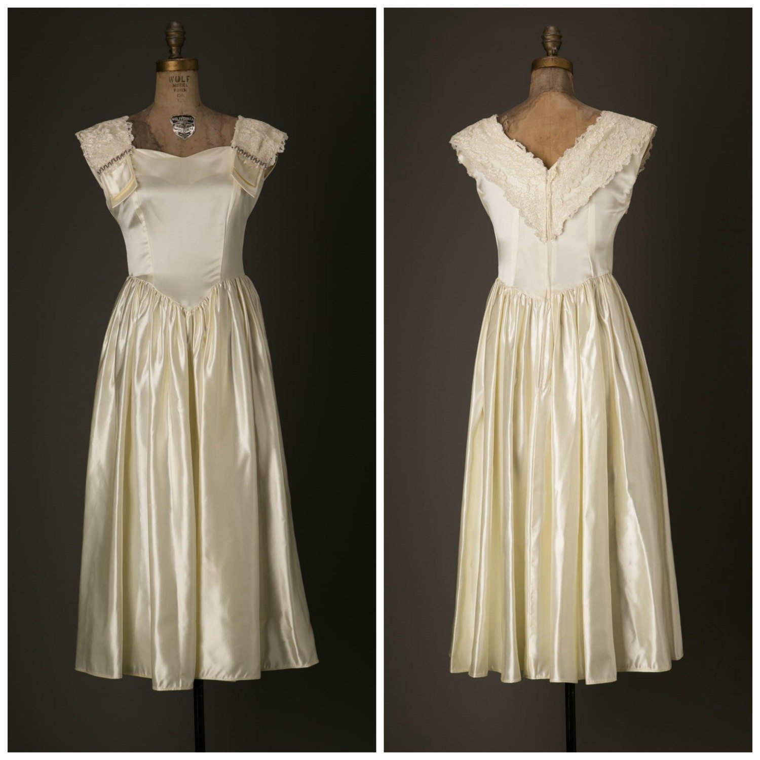 1950s satin ivory tea length wedding dress for How to clean your own wedding dress