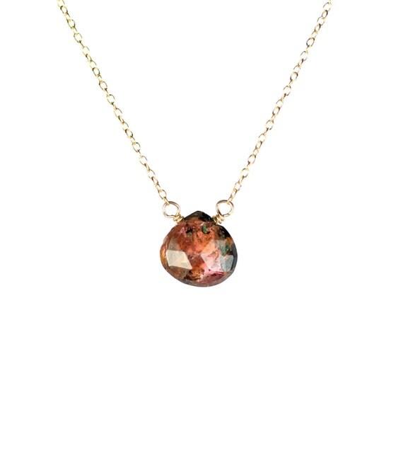 Tourmaline necklace - crystal - watermelon tourmaline - october birthstone - A juicy drop of watermelon tourmaline on 14k gold vermeil chain