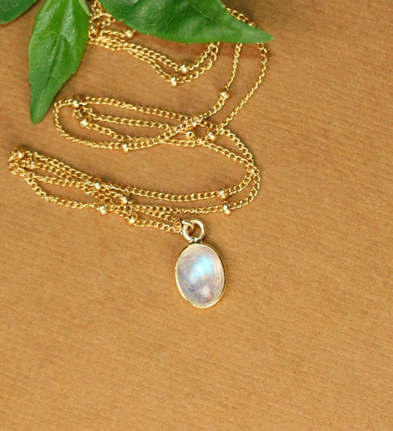 Moonstone necklace - rainbow moonstone -dew drops - june birthstone - a tiny gold lined moonstone on a 14k gold filled satellite chain