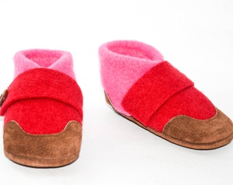 Kids Felted Wool Slippers, Wool Mary Jane Slippers, Children Soft Wool Shoes, Youth Eco-Friendly Moccasins:  Kids 7.0 - Youth 2.5. Butterfly