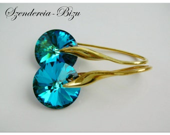 Gold-plated silver earrings with Swarovski Elements  Disc 12mm Crystal Bermuda Blue