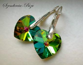 Silver earrings with Swarovski Elements Heart 14mm Crystal Vitrail Medium