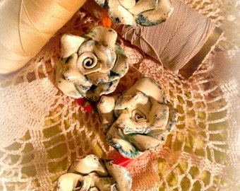 Fabby Shabby Handcrafted Vintage Inspired Old World Polymer Clay  Rose Beads