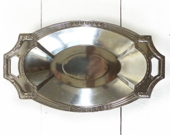 Beautifuf Antique French Art Deco SILVER plated TRAY -  FLAT