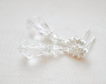 Teardrop Crystal Earrings, Swarovski Crystal Earrings, Teardrop Earrings for the Bride, Wedding Earrings