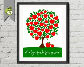 Teacher apple tree, printable, teacher appreciation gift, teacher tree, Class Names, Gift, End of year, Customisable, 8x10 printable
