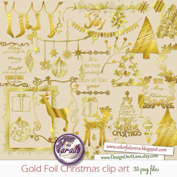 Gold Foil Christmas Clipart Gold Digital Clip Art By