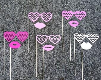 10-piece VALENTINE Chevron Glasses & Lips Photo Booth Props - Shades of PINK - Wedding, Birthday, Valentine's Day, Bridal/Baby Shower