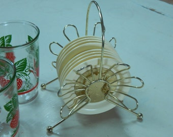 Vintage Drink Coaster Set Plastic Sunburst Wheat Gold Retro Mid-Century