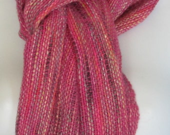 Orchids -- hand woven wool blend scarf
