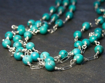 Turquoise Necklace. Long Strand Necklace. Turquoise Jewelry. December Birthstone. Silver Jewelry. Gemstone Jewelry