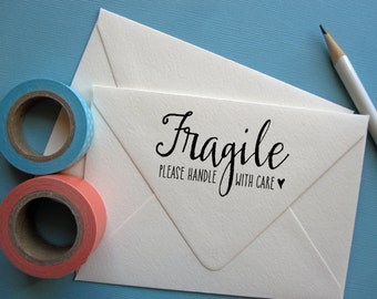Fragile stamp, please handle with care with heart, wood mounted rubber stamp or self inking stamp