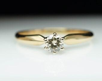 Vintage Solitare Round Diamond Engagement Ring 14k Yellow Gold Simple Engagement Ring Vintage Engagement Solitaire Diamond