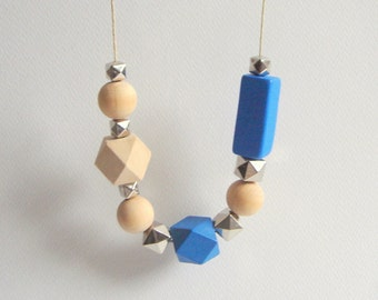Geometric Necklace,  Wood Geometric Necklace, Geometric Jewelry