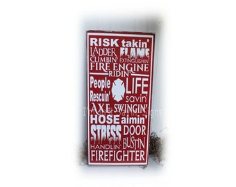 Fireman Wood Subway Art Sign