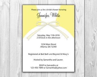 Bridal Shower Invitations - Dress in Yellow (8 Count with Envelopes)