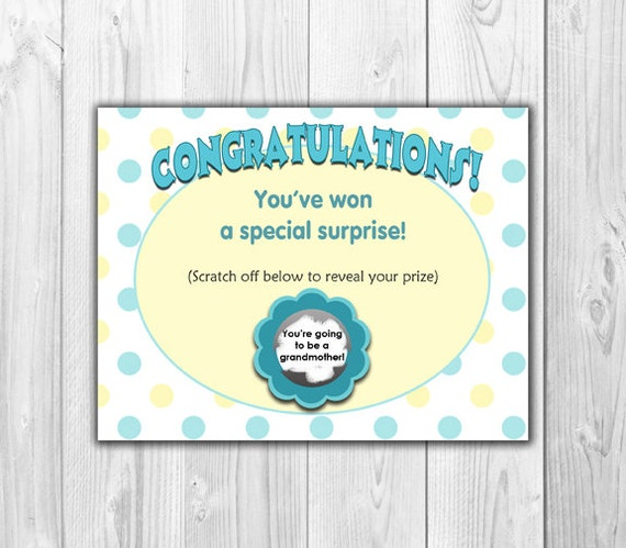 Pregnancy Announcement Scratch Off Card 4 Cards and 4