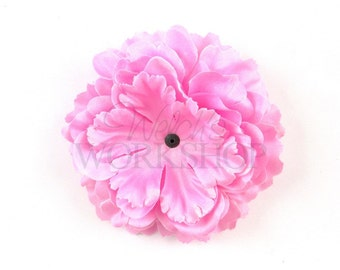 "Pink - Set of 2 Large 4"" Ruffled Peony Flowers - RP-002"