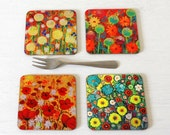 Floral Art Coaster Set of 4, Red Poppy Coasters, Coasters with Flowers, Wooden Coasters with Gloss Finish, Yellow Flowers Coaster