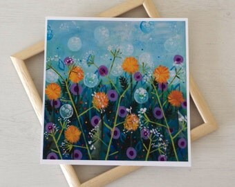 "Floral Art Print After Original Painting 8"" x 8"", Green Art Print with Dandelions, Spring Summer Artwork"