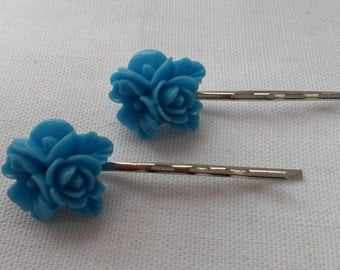 Blue flower flower bobby pins