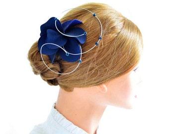 Navy blue fascinator Bridesmaid headpiece Navy blue hair accessory Wedding headpiece Bridal fascinator