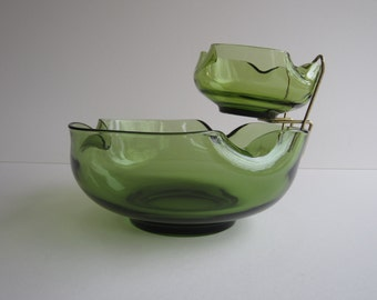 """1960's Accent Modern """"Chip & Dip """" Bowl Set with Brass Bowl Holder in Forest Green by Anchor Hocking AH01"""
