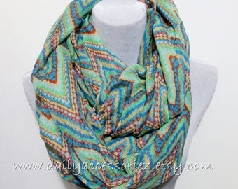 Aztec Green Blue Chevron Scarf, Color Block Infinity Scarf, Chunky and Silky, Loop Scarf, Autumn Scarf, Best Scarf, Chunky Scarf, Scarf Gift