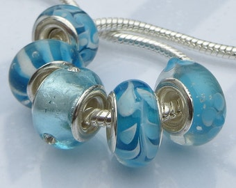 5PCs Aquamarine, Lampwork, Crystal, Glass, Murano, Eurpean Bead Collection For All European Charm Bracelets