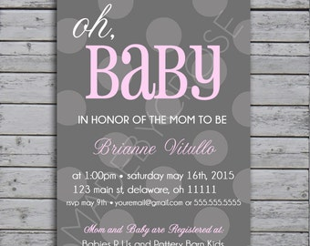 Printable Baby Shower Invitation, Gray Polka Dot Background with Pink - Digital File