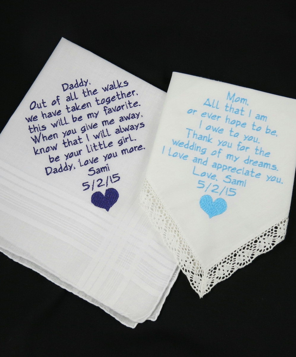 Wedding Gifts For Parents Handkerchief : Embroidered Handkerchiefs WEDDING GIFTS for Mom by NapaEmbroidery