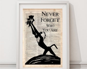 The Lion King (Never Forget), Dictionary Art Print, Prints on Dictionary Paper, Silhouette, dictionary page, Wall Hanging, Dictionary Print
