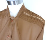 Vintage Sheer Brown Blouse with Lace Detail