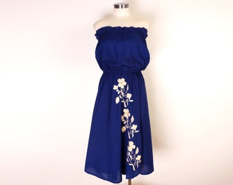 Vintage Blue Cotton Strapless Dress with Embroidery