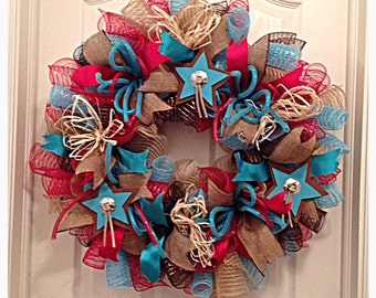 Southwestern Star Turquoise and Red Deco Mesh Wreath/Turquoise and Red Wreath/Cowboy Wreath/Cowgirl Wreath/Burlap Turquoise  Red Wreath