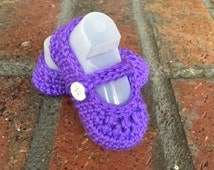 Baby Mary Jane's, Crochet Baby Shoes, Button Strap Baby Girl Booties, Baby Shower Gift, Grape Color