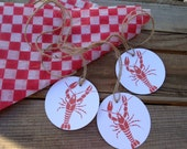 Crawfish Boil party favor tags crayfish backyard parties southern Crawfest summer wedding rehearsal lowcountry Kraft brown paper or white