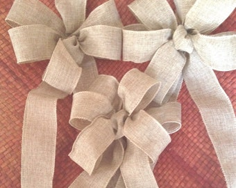 Country Burlap look Bow rustic country Chair Pew wedding light tan or green decor for any occasion bows Set of Six