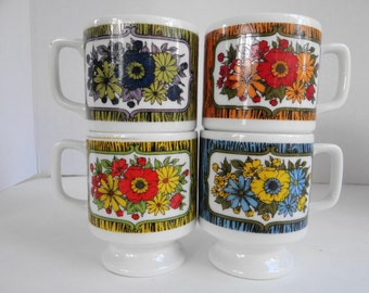 Vintage Royal Crown Smug Mugs Arnart # 44/198  Set of 4  with Different Colors Stackable Mugs/Collectibles