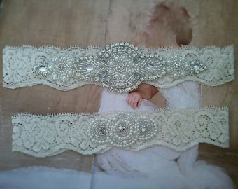 SALE-Wedding Garter Set -Pearl and Rhinestone Garter Set on a Ivory Lace Garter Set with Pearl & Rhinestone - Style G233